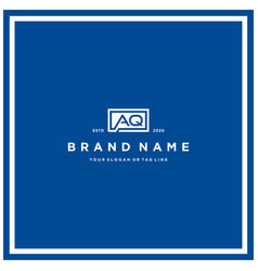 Letter aq rectangle logo design vector