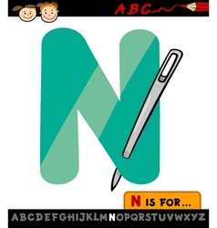 letter n with needle cartoon vector image