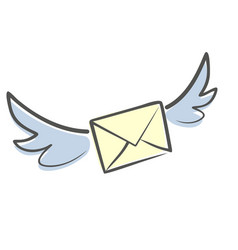 Letter with wings vector
