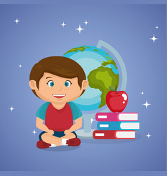 little schoolboy with world planet vector image