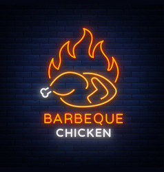 Logo chicken barbecue is a neon-style logo for a vector