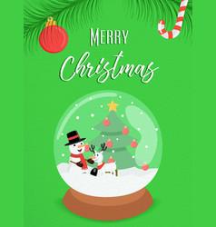 merry christmas snowman snow globe ornament card vector image