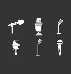 microphone icon set grey vector image