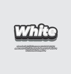 Modern 3d white black strip line font effect vector