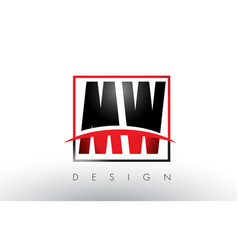 Mw m w logo letters with red and black colors and vector