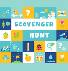 Nature scavenger hunt summer camp and community vector