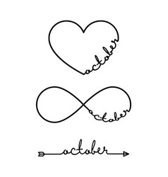 october - word with infinity symbol hand drawn vector image