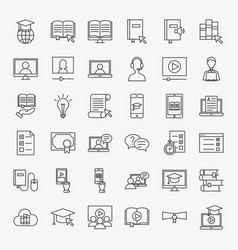 Online learning line icons set vector