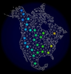 polygonal 2d mesh map of north america with bright vector image