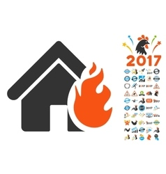 Realty fire damage icon with 2017 year bonus vector