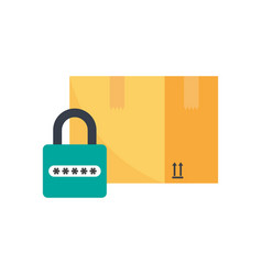 safe shipping carton box and padlock vector image