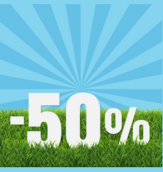 Sale text with green grass vector