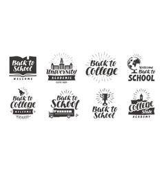 School college set icons Beautiful calligraphic vector