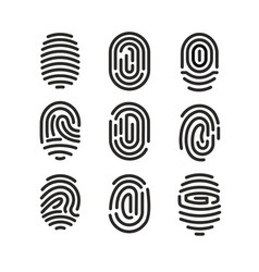 set of fingerprint icons on vector image