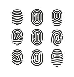 set of fingerprint icons vector image