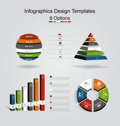 Set of infographics design template with 6 options vector
