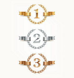set of rank emblems - gold silver bronze vector image