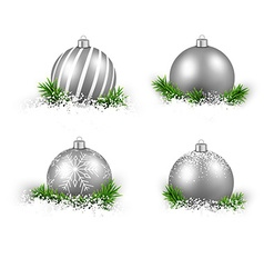 Set of realistic silver christmas balls vector image