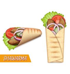 shawarma set turkish vector image