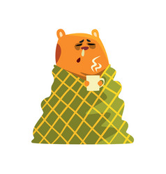 Sick cartoon hamster character with flu wrapped in vector