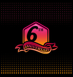 Six years anniversary celebration logotype 6th vector