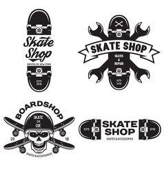Skateboarding labels badges set quotes about vector
