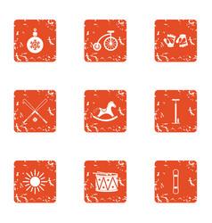 Snowbound icons set grunge style vector