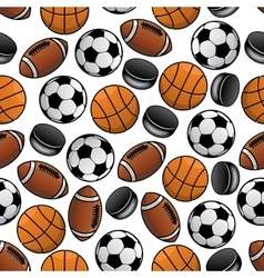 Sports balls and pucks seamless pattern vector image vector image