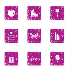 Spring mindset icons set grunge style vector