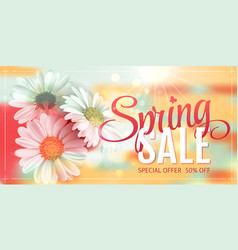 spring sale concept orange background with vector image