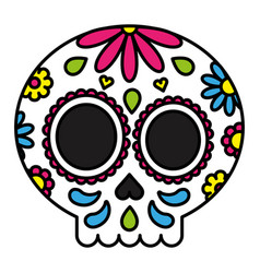 sugar skull colorful floral isolated black outline vector image