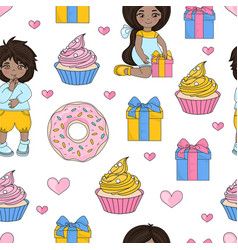 sweet holiday valentines seamless pattern vector image