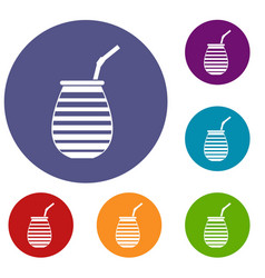 tea cup used mate or terere in argentina icons set vector image vector image