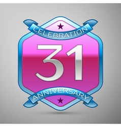 Thirty one years anniversary celebration silver vector
