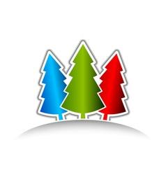three christmas trees vector image