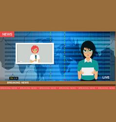 Tv news reporter vector