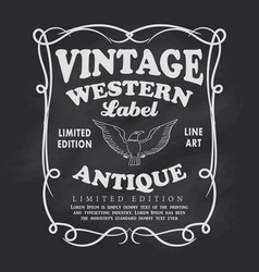 Western hand drawn frame label blackboard vintage vector