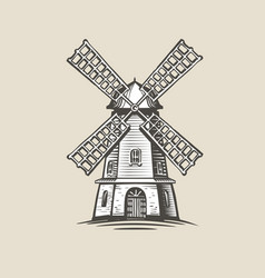windmill mill logo or label farm agriculture vector image