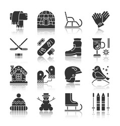 winter activity sport outdoor monochrome icon set vector image