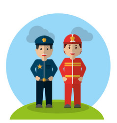 workers profession policeman and fireman standing vector image