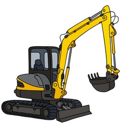 Yellow small excavator vector
