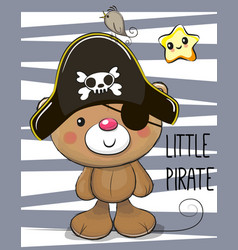 cute cartoon bear in a pirate hat vector image vector image