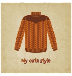 cute sweater old background vector image vector image