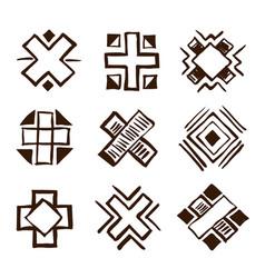 crosses ethnic elements vector image