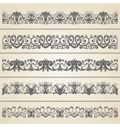 decorative borders set vector image vector image