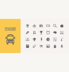 group of twenty education and school icons vector image