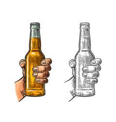 male hand holding bottle beer color vintage vector image