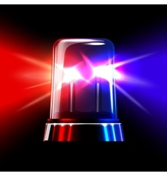 Red and blue emergency flashing siren vector image vector image