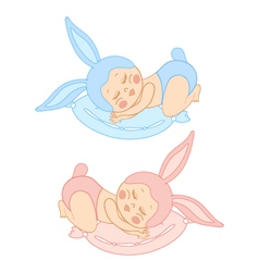 small sleeping baby in bunny costume vector image vector image