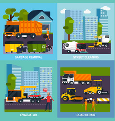 special transport 2x2 flat design concept vector image vector image